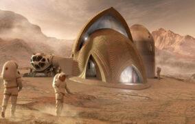 طرحی گرافیکی از پایگاه انسانی در مریخ