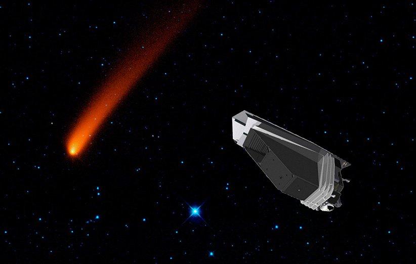 طرح گرافیکی مأموریت تلسکوپ فضایی نقشهبردار نئو برای شناسایی سیارکها در نزدیکی زمین
