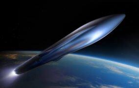 طرحی گرافیکی از موشک تران-آر ریلیتیویتی اسپیس