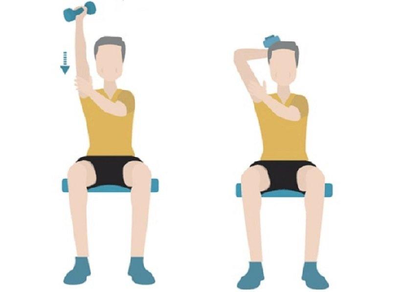 «پشت بازو دمبل تکدست نشسته» (Isolated Tricep Extensions)