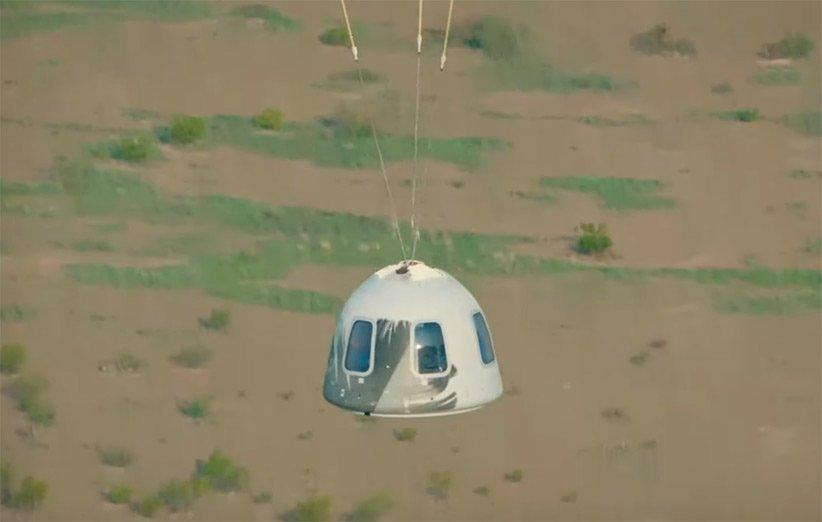 فرود فضاپیمای سرنشیندار نیو شپرد بلو اوریجین