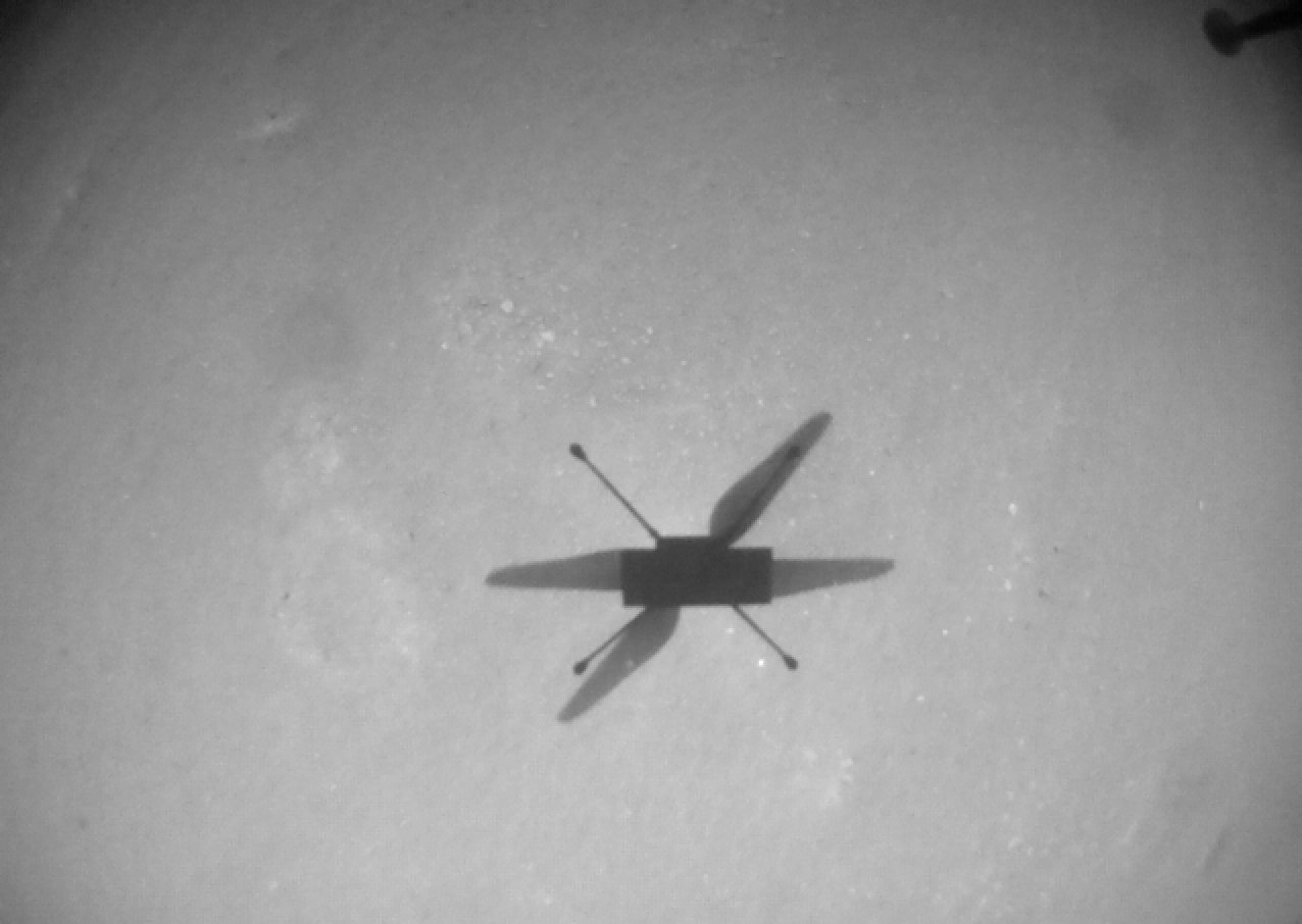 سایهی بالگرد نبوغ در دهمین پرواز از نگاه دوربین ناوبری