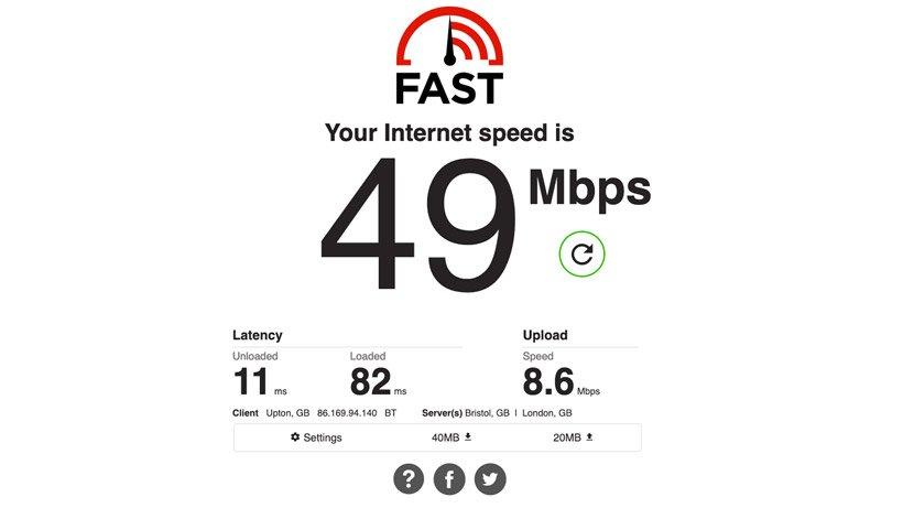 تست سرعت اینترنت Fast.com
