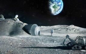 طرحی گرافیکی از ساخت زیستگاه انسانی با استفاده از خاک ماه