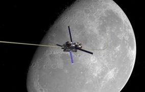 طرحی گرافیکی از آسانسور فضایی به عنوان یک ایده برای فرود پیوستهی انسان بر سطح ماه