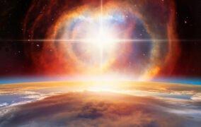 طرحی گرافیکی از یک انفجار ابرنواختری