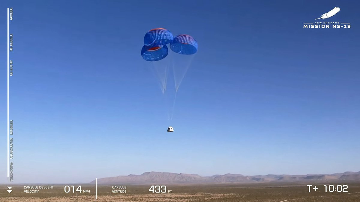 فرود کپسول سرنشیندار نیو شپرد در مأموریت NS-18 بلو اوریجین