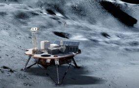 طرحی گرافیکی از مأموریت سطحنشین تجاری آیندهی ماه