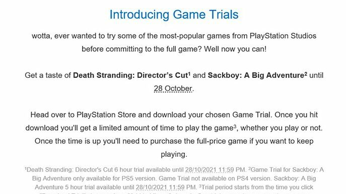 ps5 game trials
